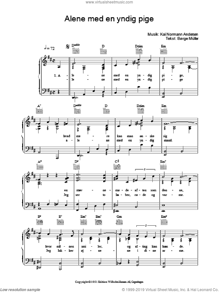 Alene Med En Yndig Pige sheet music for voice, piano or guitar by Borge Muller
