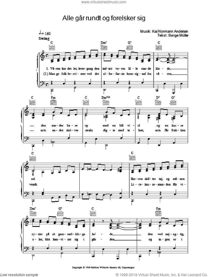 Alle Gar Rundt Og Forelsker Sig sheet music for voice, piano or guitar by Kai Normann Andersen. Score Image Preview.