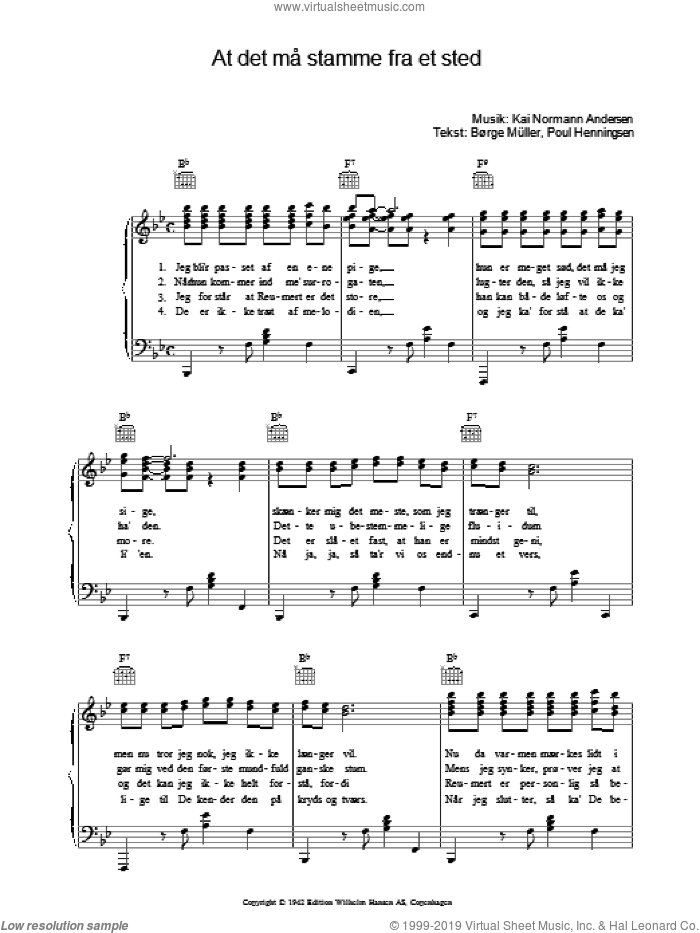 At Det Ma Stamme Fra Et Sted sheet music for voice, piano or guitar by Kai Normann Andersen, intermediate. Score Image Preview.