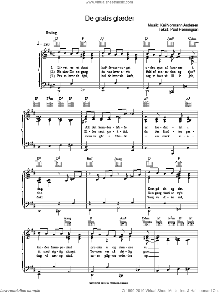 De Gratis Glaeder sheet music for voice, piano or guitar by Kai Normann Andersen, intermediate voice, piano or guitar. Score Image Preview.