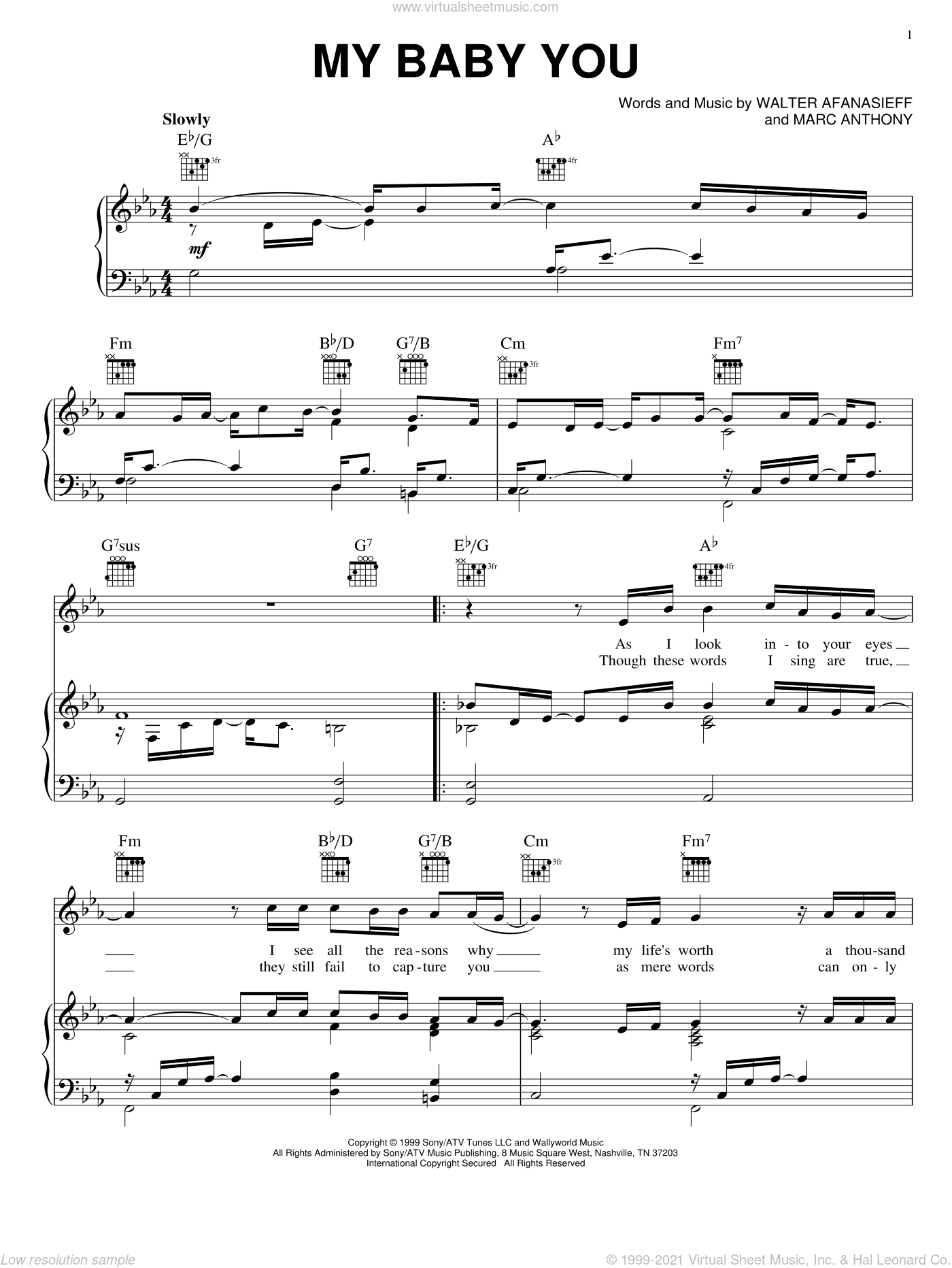 My Baby You sheet music for voice, piano or guitar by Walter Afanasieff and Marc Anthony. Score Image Preview.