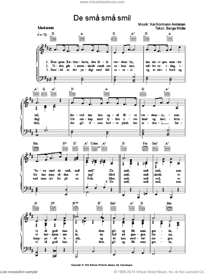 De Sma Sma Smil sheet music for voice, piano or guitar by Borge Muller and Kai Normann Andersen. Score Image Preview.