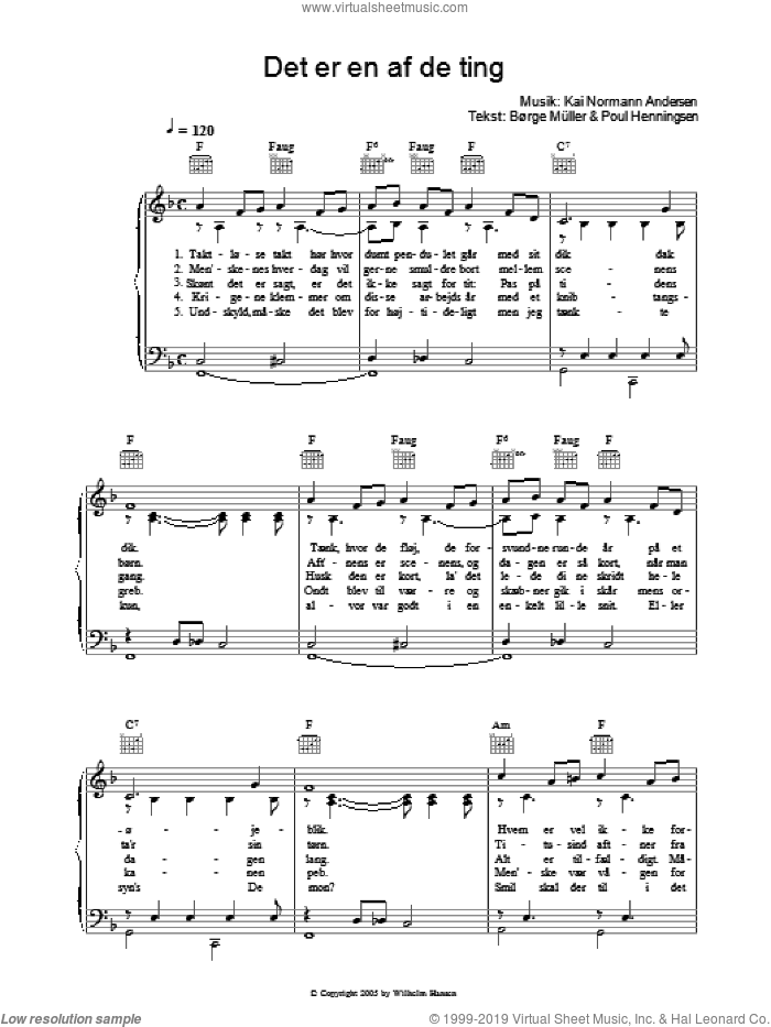 Det Er En Af De Ting sheet music for voice, piano or guitar by Poul Henningsen, Kai Normann Andersen and Borge Muller. Score Image Preview.