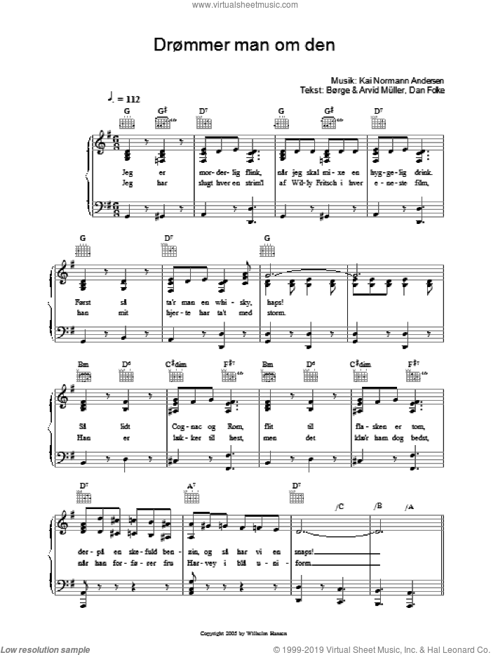 DrAummer Man Om Den sheet music for voice, piano or guitar by Dan Folke, Kai Normann Andersen and Borge Muller. Score Image Preview.