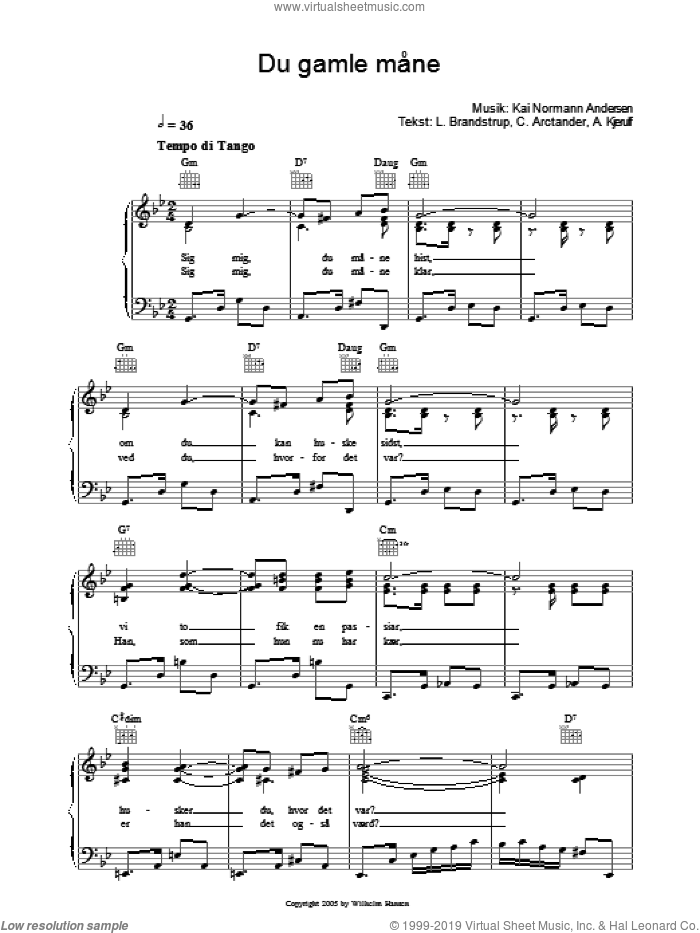 Du Gamle Mane sheet music for voice, piano or guitar by L. Brandstrup and Kai Normann Andersen. Score Image Preview.