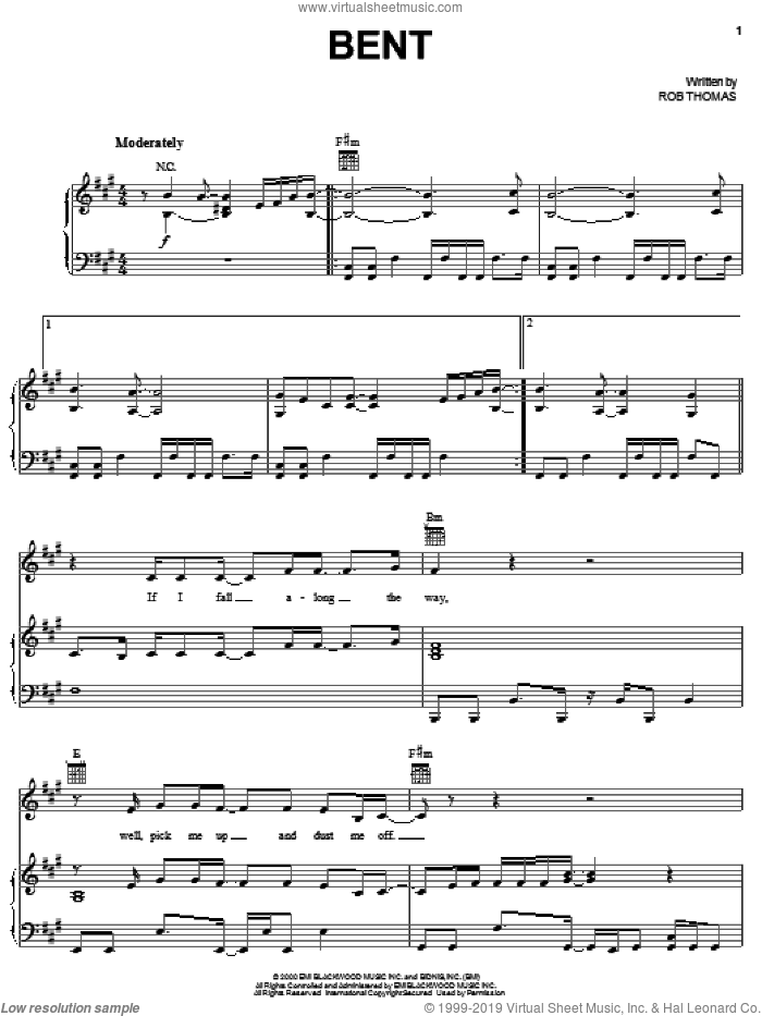 Bent sheet music for voice, piano or guitar by Matchbox Twenty, Matchbox 20 and Rob Thomas, intermediate. Score Image Preview.