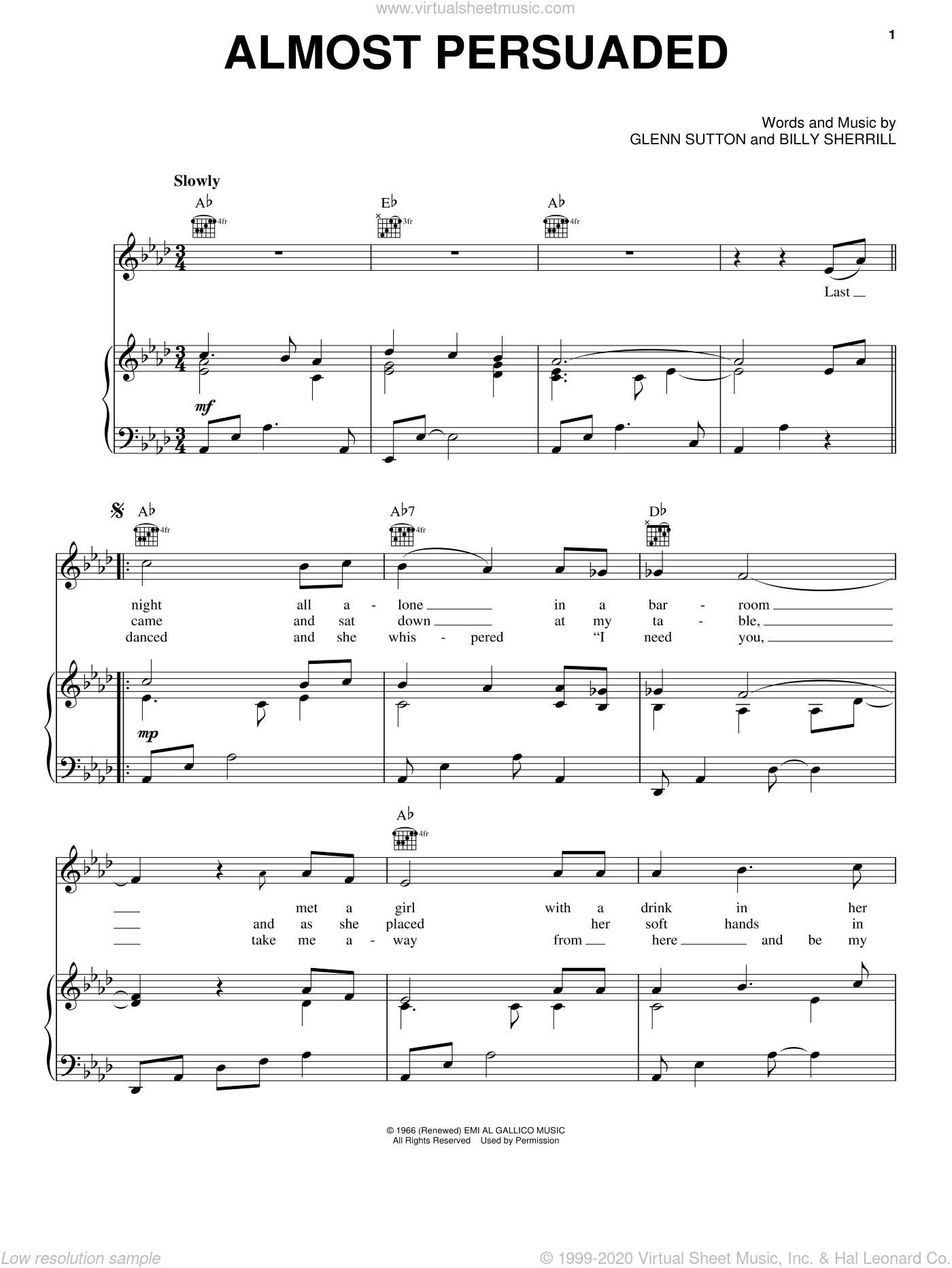 Almost Persuaded sheet music for voice, piano or guitar by David Houston, Ben Colder and Etta James, intermediate skill level