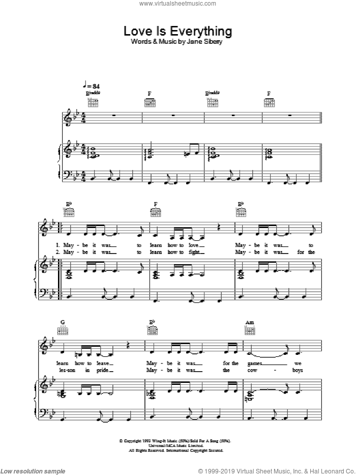 Love Is Everything sheet music for voice, piano or guitar by Jane Siberry. Score Image Preview.