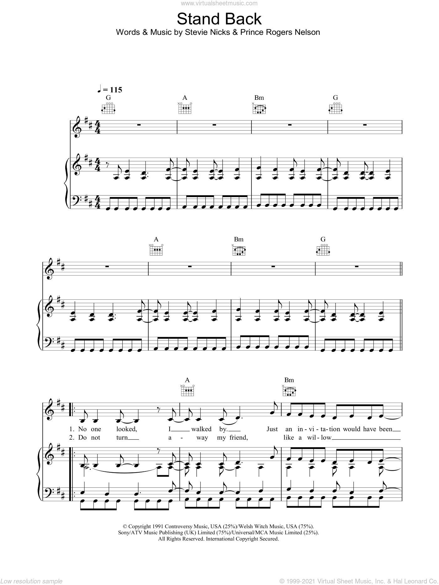 Stand Back sheet music for voice, piano or guitar by Prince Rogers Nelson, Stevie Nicks and Prince. Score Image Preview.