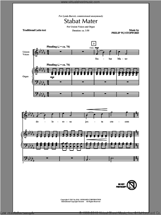 Stabat Mater sheet music for choir and piano (solo) by Philip Stopford