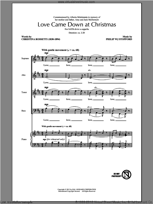 Love Came Down At Christmas sheet music for choir and piano (SATB) by Philip Stopford