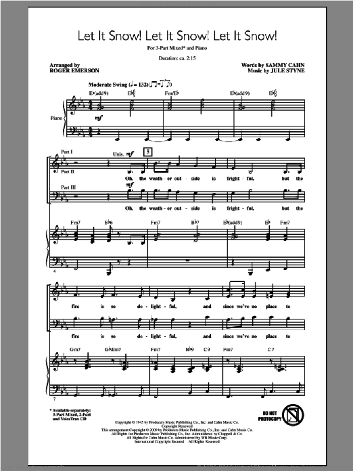Let It Snow! Let It Snow! Let It Snow! sheet music for choir (chamber ensemble) by Roger Emerson. Score Image Preview.