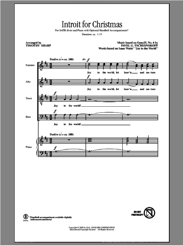Introit For Christmas sheet music for choir and piano (SATB) by Tschesnokov