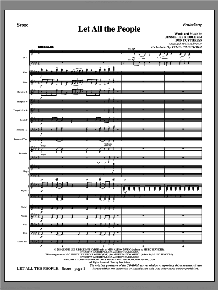 Let All The People (COMPLETE) sheet music for orchestra/band (Orchestra) by Mark Brymer, Don Poythress and Jennie Lee Riddle, intermediate skill level