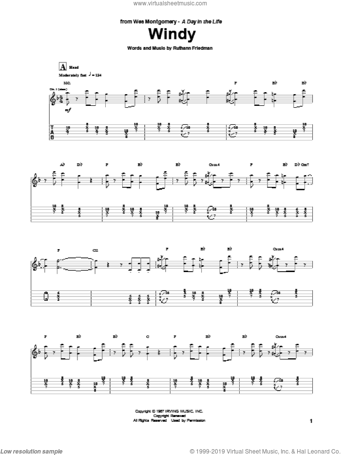 Windy sheet music for guitar (tablature) by Wes Montgomery, intermediate skill level