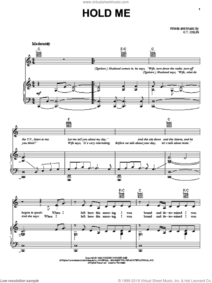 Hold Me sheet music for voice, piano or guitar by K.T. Oslin
