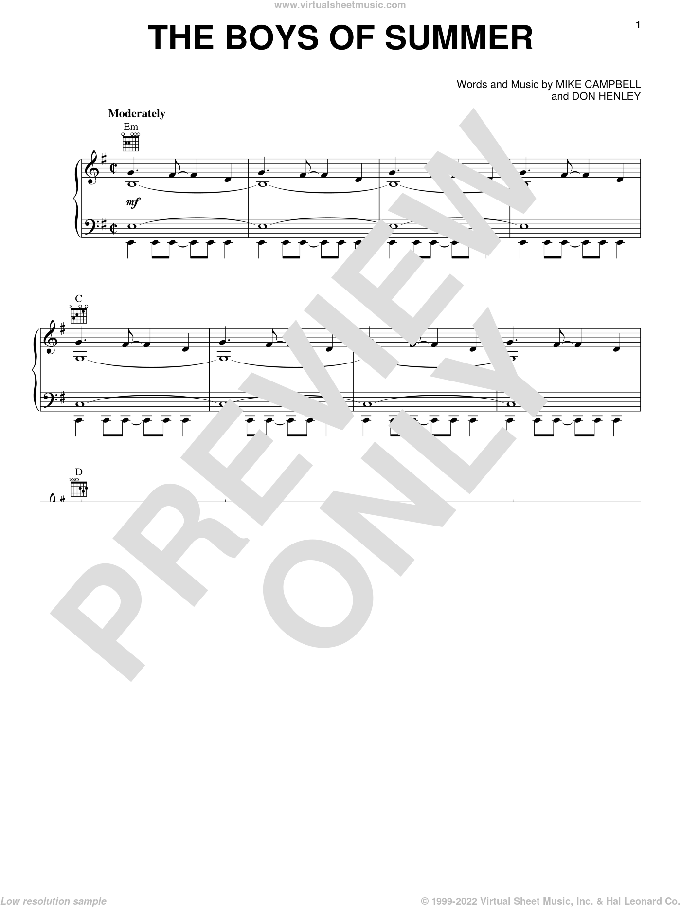 The Boys Of Summer sheet music for voice, piano or guitar by Don Henley and Mike Campbell, intermediate skill level