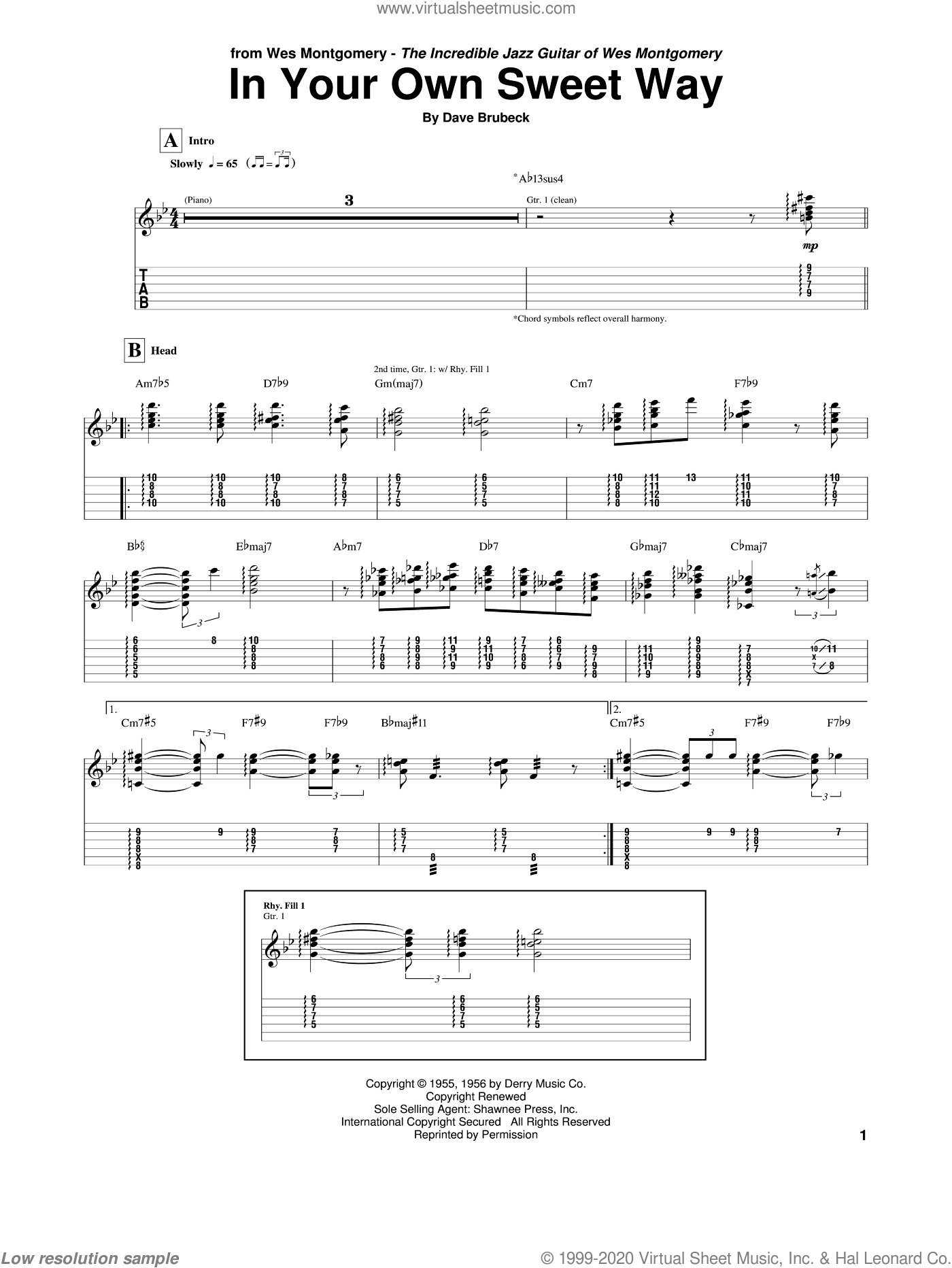 In Your Own Sweet Way sheet music for guitar (tablature) by Wes Montgomery and Dave Brubeck. Score Image Preview.