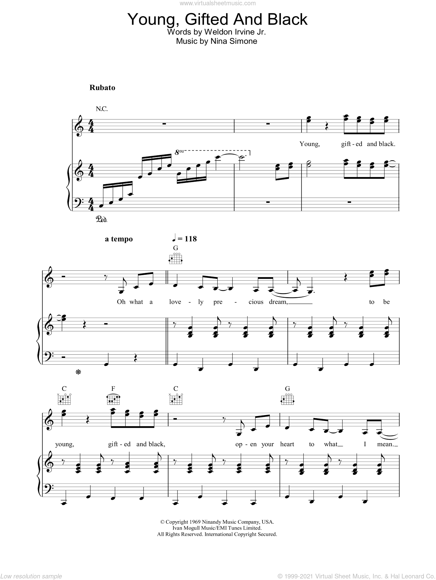 Young, Gifted And Black sheet music for voice, piano or guitar by Nina Simone, intermediate. Score Image Preview.