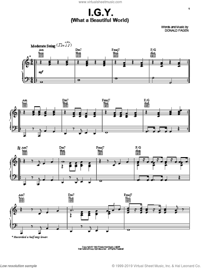 I.G.Y. (What A Beautiful World) sheet music for voice, piano or guitar by Donald Fagen and Steely Dan, intermediate voice, piano or guitar. Score Image Preview.