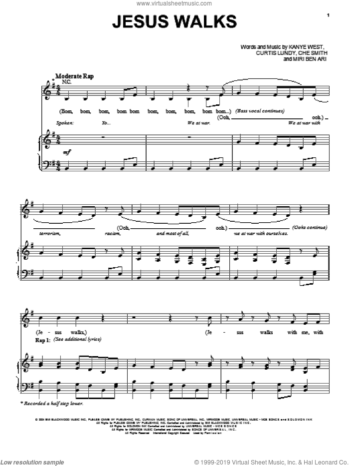 Jesus Walks sheet music for voice, piano or guitar by Kanye West, Che Smith, Curtis Lundy and Miri Ben Ari, intermediate skill level