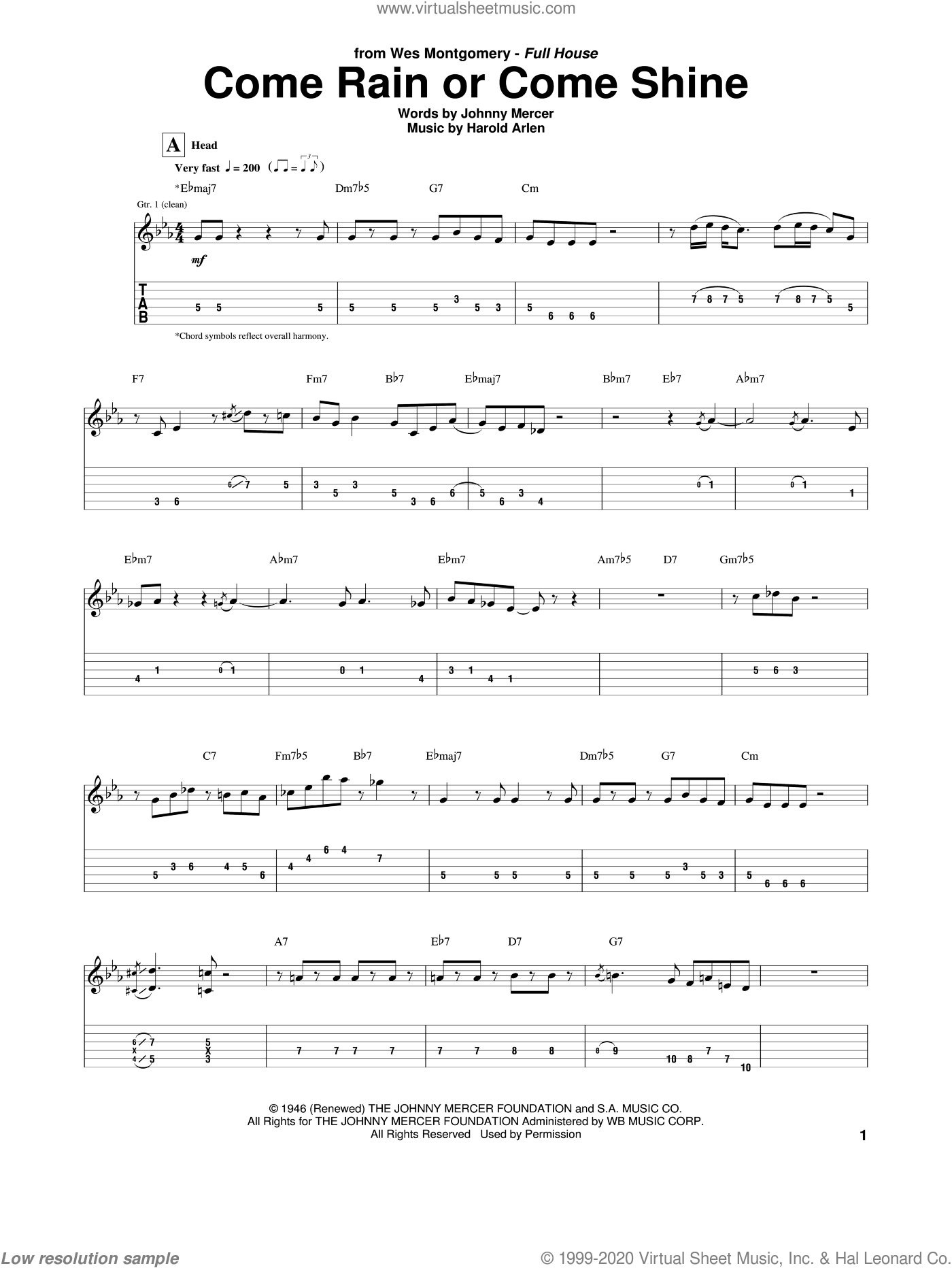 Come Rain Or Come Shine sheet music for guitar (tablature) by Wes Montgomery