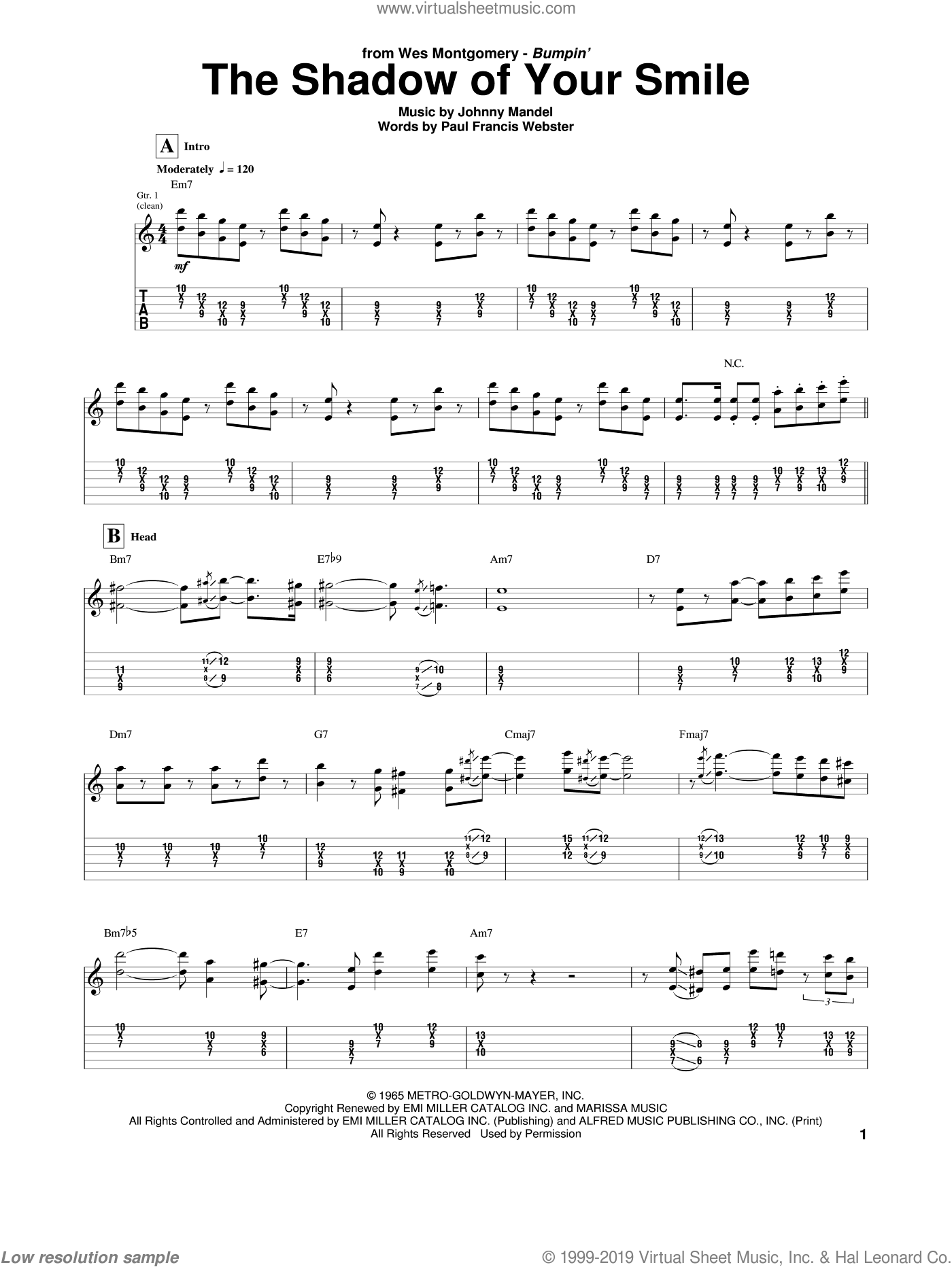 The Shadow Of Your Smile sheet music for guitar (tablature) by Wes Montgomery, intermediate. Score Image Preview.