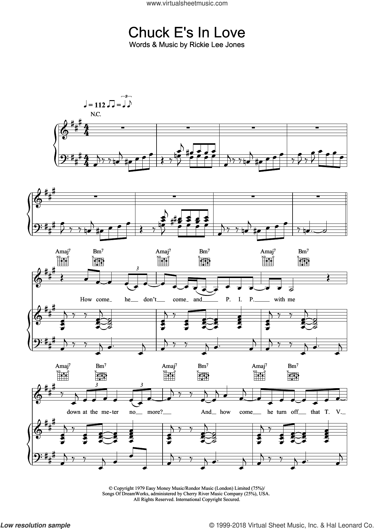 Chuck E's In Love sheet music for voice, piano or guitar by Rickie Lee Jones, intermediate. Score Image Preview.