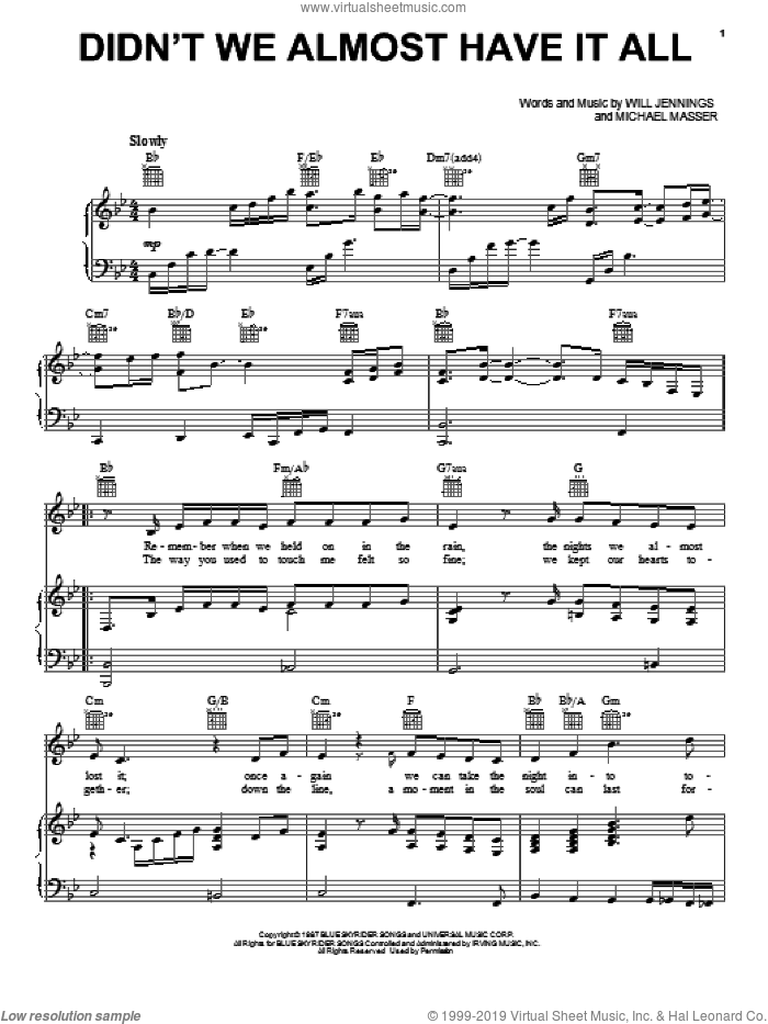 Didn't We Almost Have It All sheet music for voice, piano or guitar by Whitney Houston and Michael Masser. Score Image Preview.