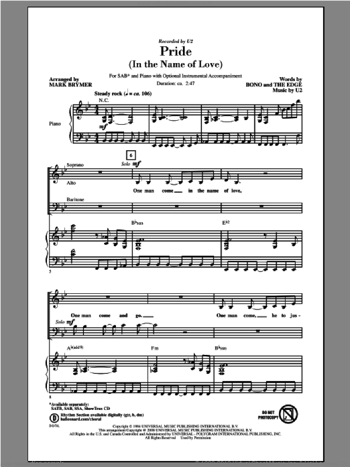 Pride (In The Name Of Love) sheet music for choir (SAB) by Mark Brymer and U2. Score Image Preview.
