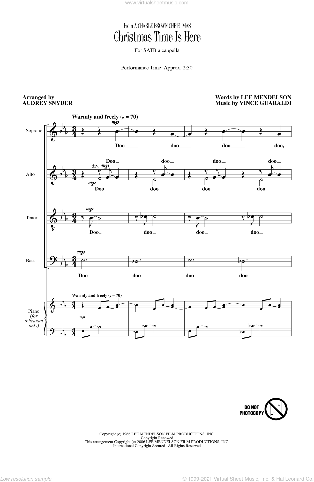 Christmas Time Is Here sheet music for choir and piano (SATB) by Audrey Snyder, Lee Mendelson and Vince Guaraldi. Score Image Preview.