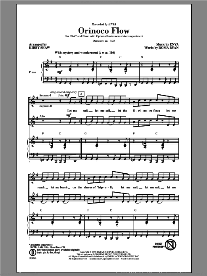 Orinoco Flow sheet music for choir (soprano voice, alto voice, choir) by Kirby Shaw and Enya. Score Image Preview.