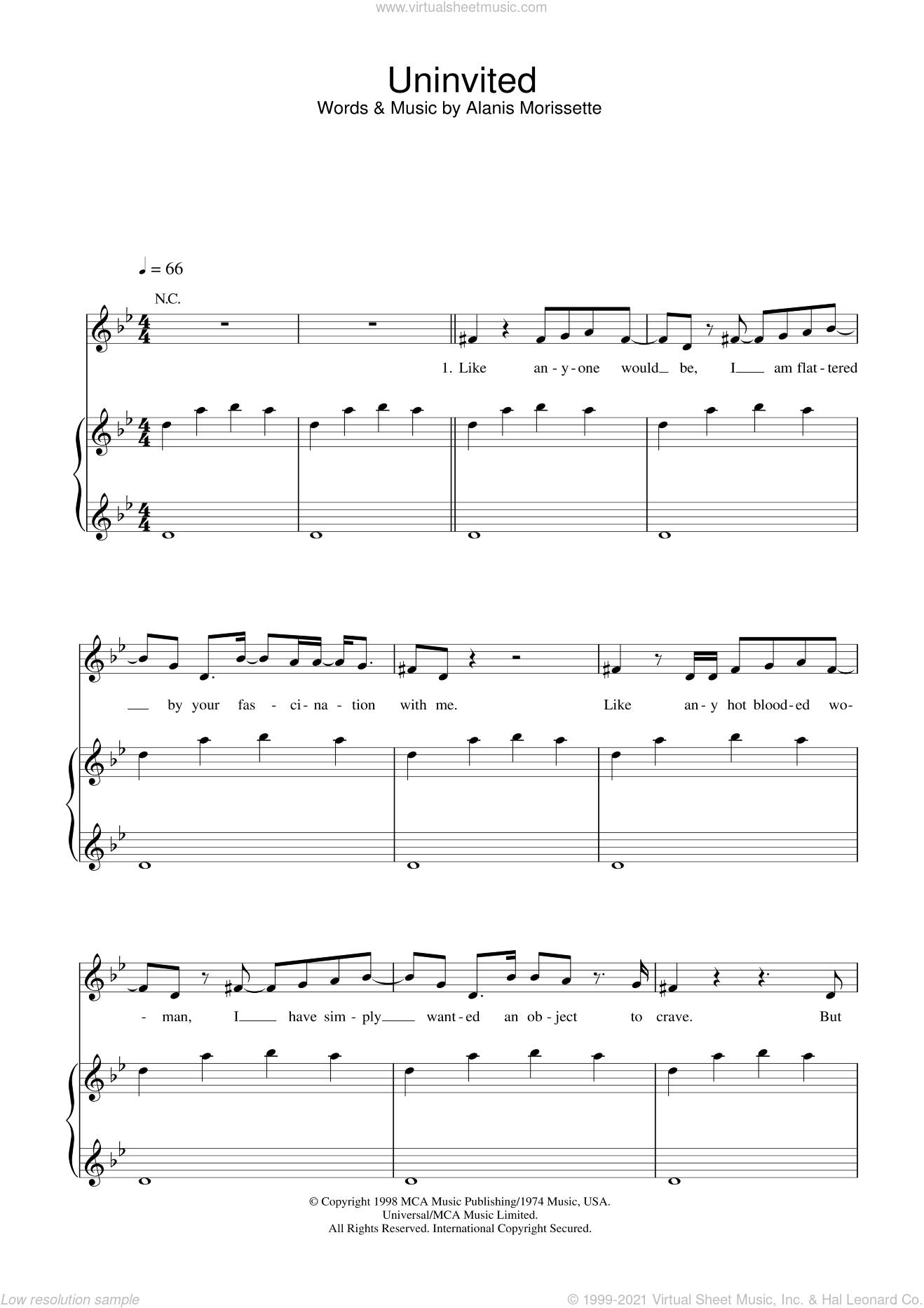 Uninvited sheet music for voice, piano or guitar by Alanis Morissette, intermediate skill level