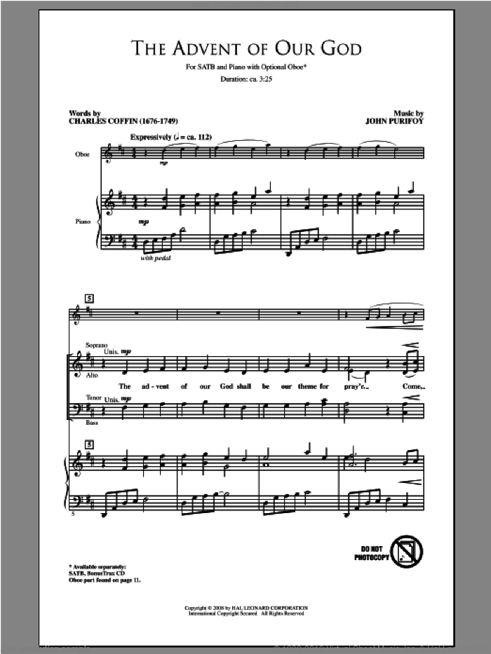 The Advent Of Our God sheet music for choir (SATB: soprano, alto, tenor, bass) by John Purifoy, intermediate