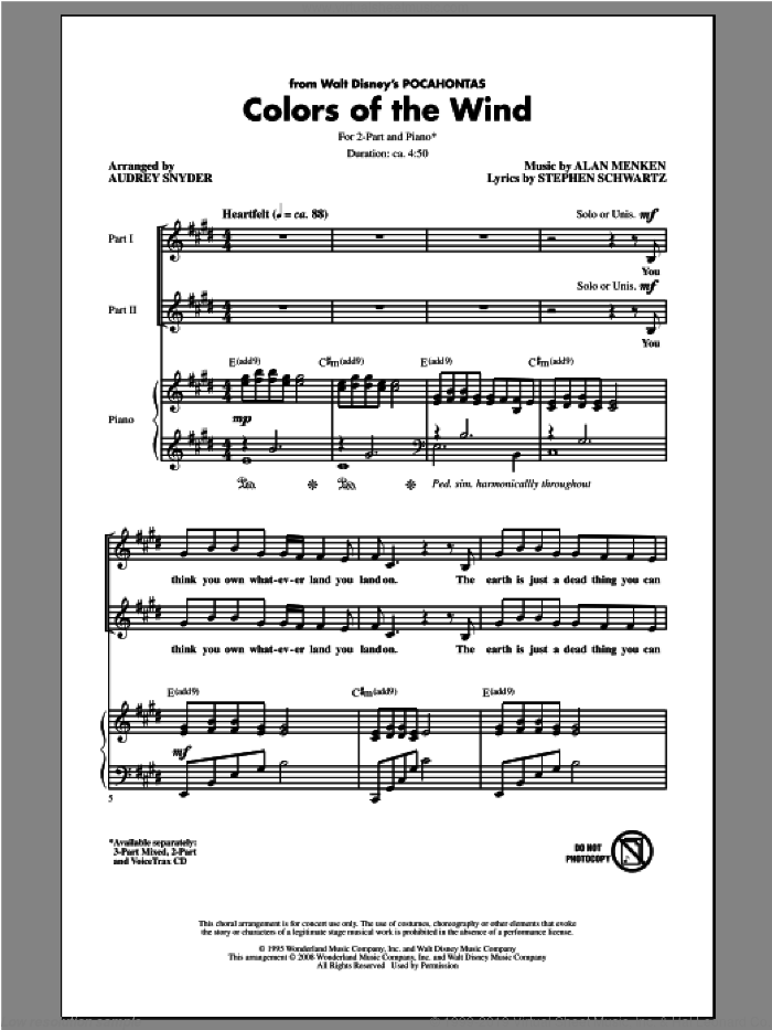 Colors Of The Wind sheet music for choir and piano (duets) by Audrey Snyder