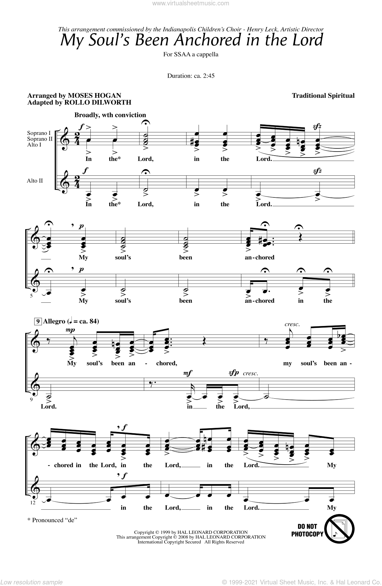 My Soul's Been Anchored In The Lord sheet music for choir (SSAA: soprano, alto) by Rollo Dilworth and Moses Hogan, intermediate skill level