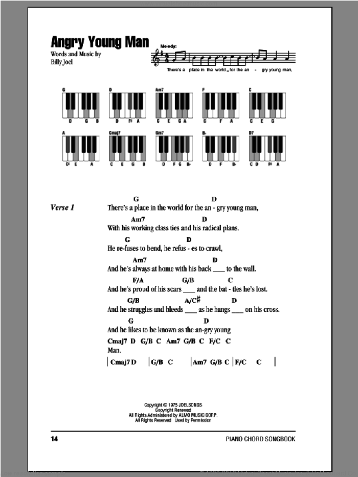 Angry Young Man sheet music for piano solo (chords, lyrics, melody) by Billy Joel. Score Image Preview.