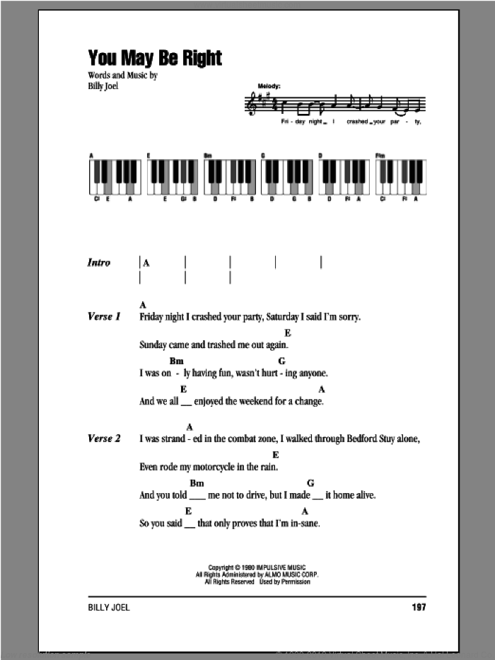 You May Be Right sheet music for piano solo (chords, lyrics, melody) by Billy Joel, intermediate piano (chords, lyrics, melody)