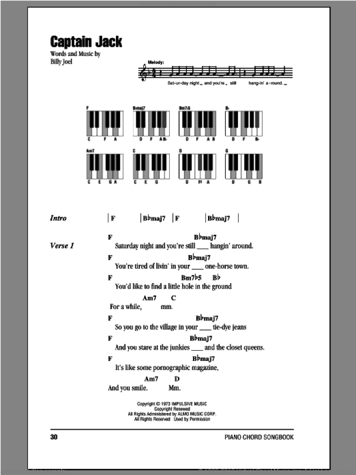 Captain Jack sheet music for piano solo (chords, lyrics, melody) by Billy Joel, intermediate piano (chords, lyrics, melody)
