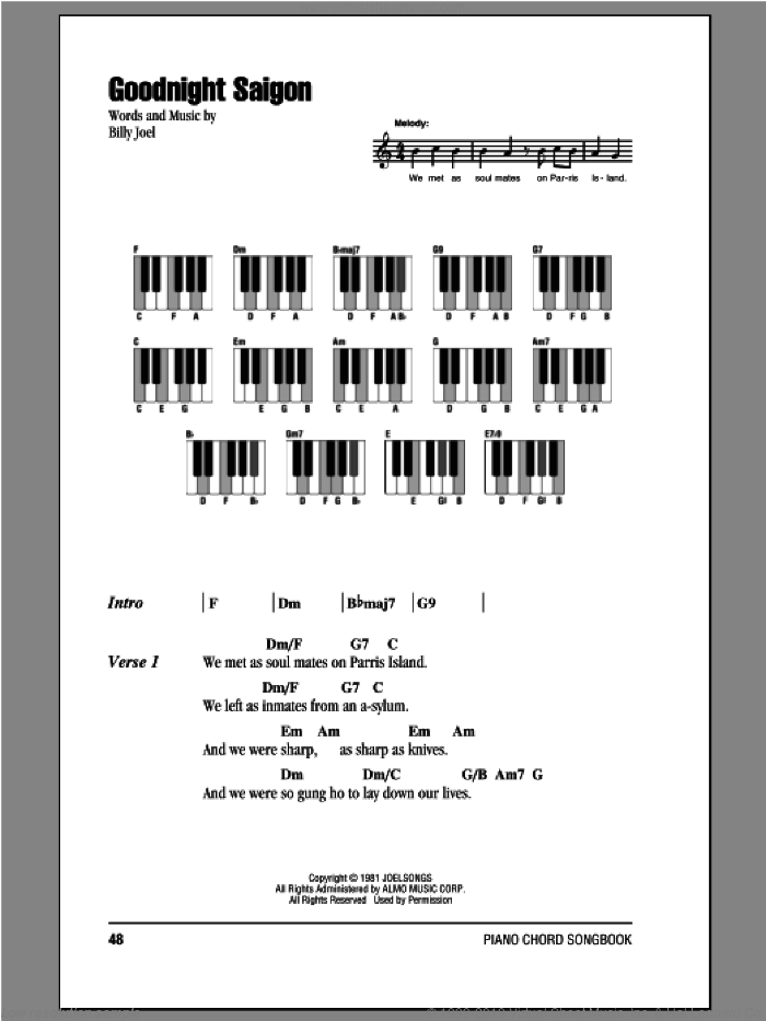 Goodnight Saigon sheet music for piano solo (chords, lyrics, melody) by Billy Joel. Score Image Preview.