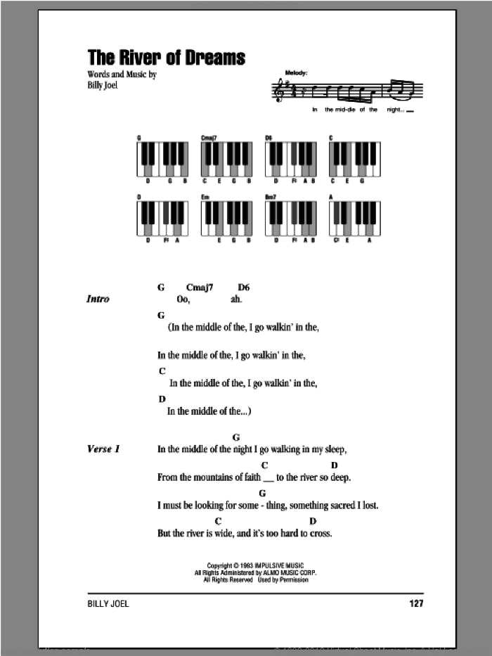 The River Of Dreams sheet music for piano solo (chords, lyrics, melody) by Billy Joel, intermediate piano (chords, lyrics, melody)