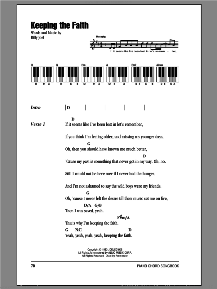 Keeping The Faith sheet music for piano solo (chords, lyrics, melody) by Billy Joel. Score Image Preview.