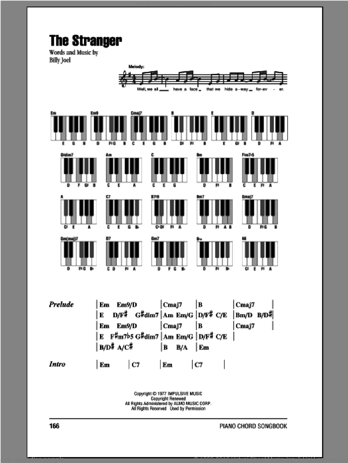 The Stranger sheet music for piano solo (chords, lyrics, melody) by Billy Joel. Score Image Preview.