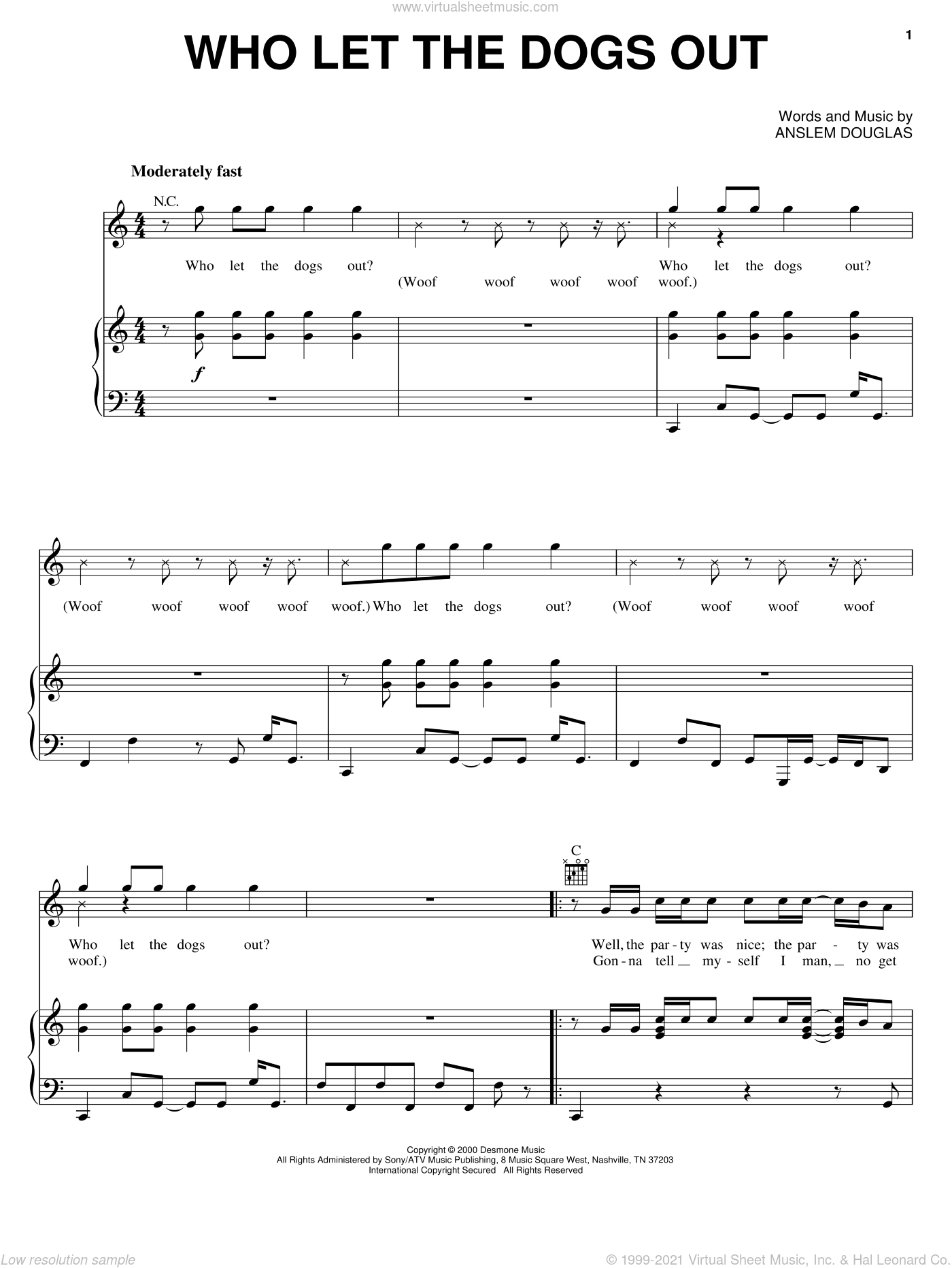 Who Let The Dogs Out sheet music for voice, piano or guitar by Baha Men and Anslem Douglas, intermediate skill level
