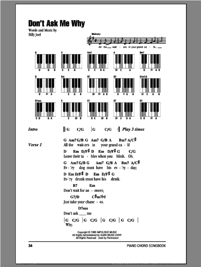Don't Ask Me Why sheet music for piano solo (chords, lyrics, melody) by Billy Joel, intermediate piano (chords, lyrics, melody)