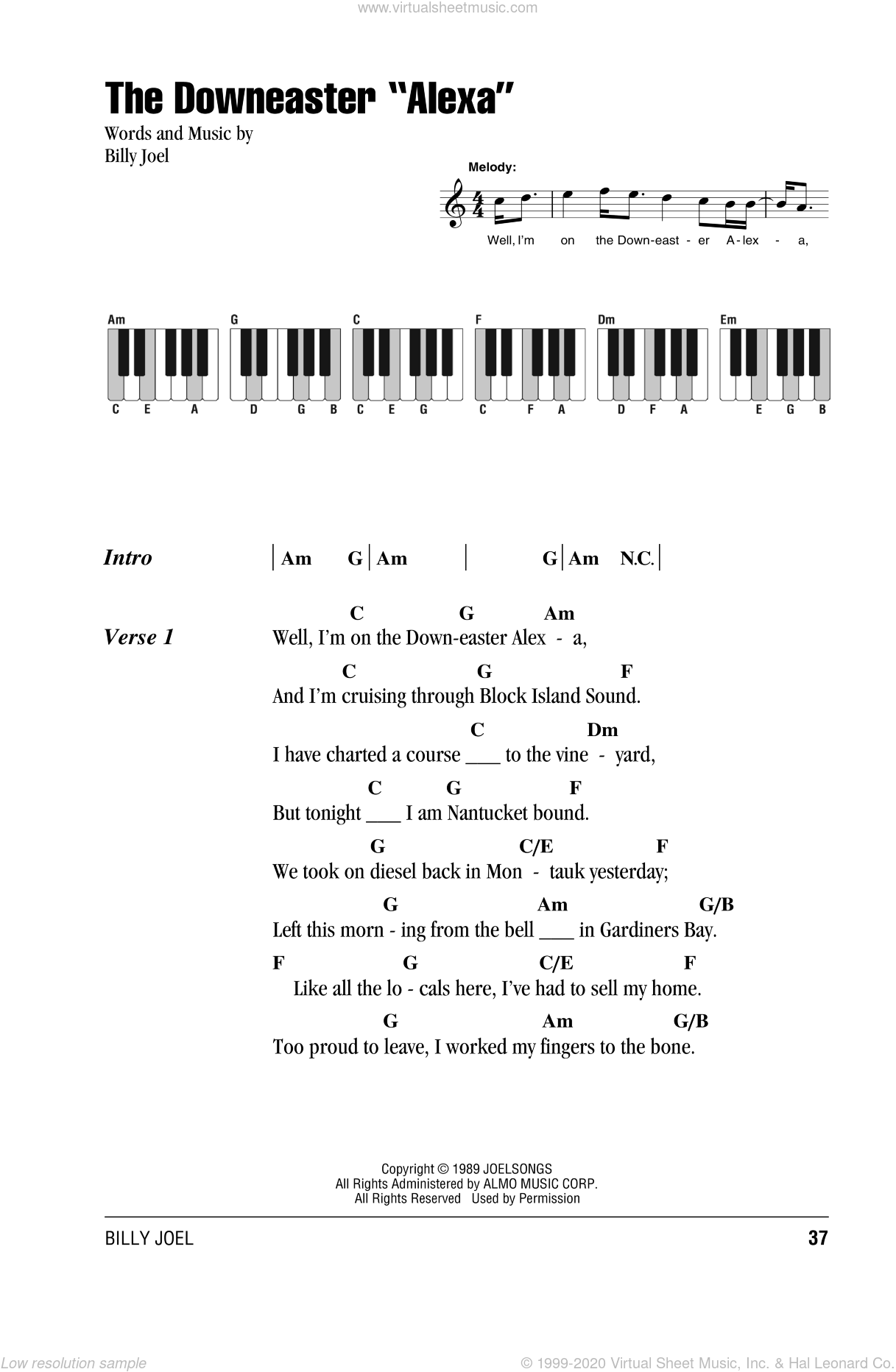 The Downeaster 'Alexa' sheet music for piano solo (chords, lyrics, melody) by Billy Joel, intermediate piano (chords, lyrics, melody)