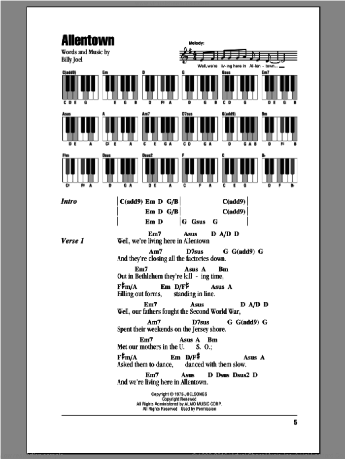 Allentown sheet music for piano solo (chords, lyrics, melody) by Billy Joel, intermediate piano (chords, lyrics, melody)