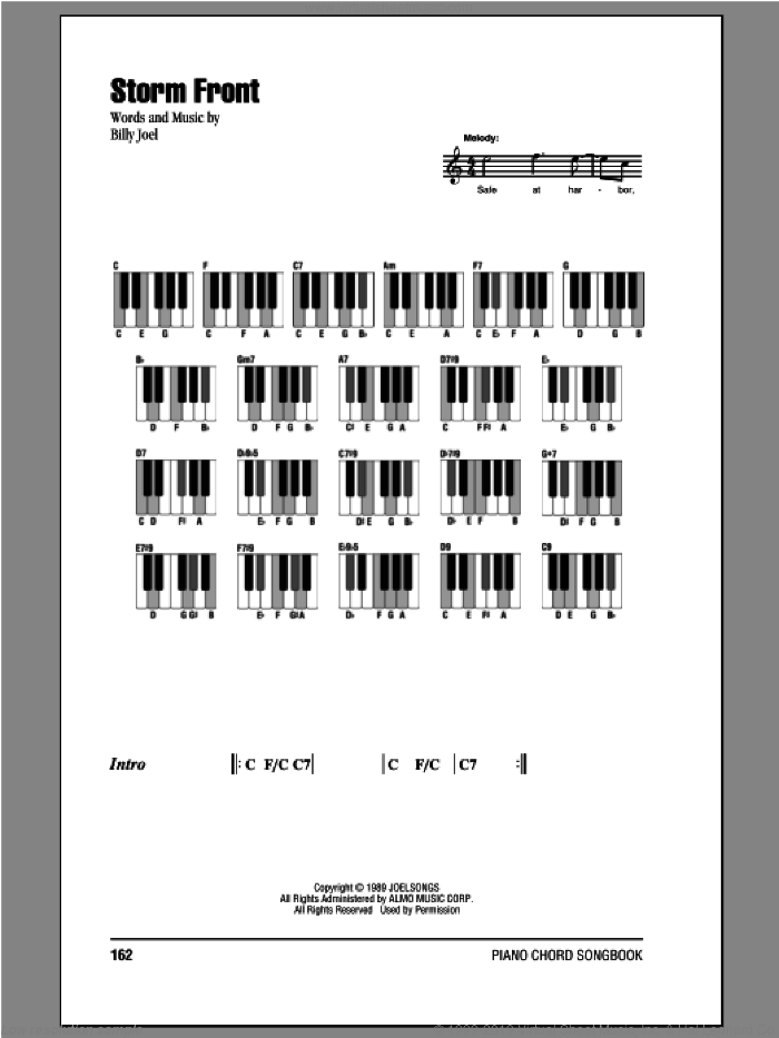 Storm Front sheet music for piano solo (chords, lyrics, melody) by Billy Joel. Score Image Preview.