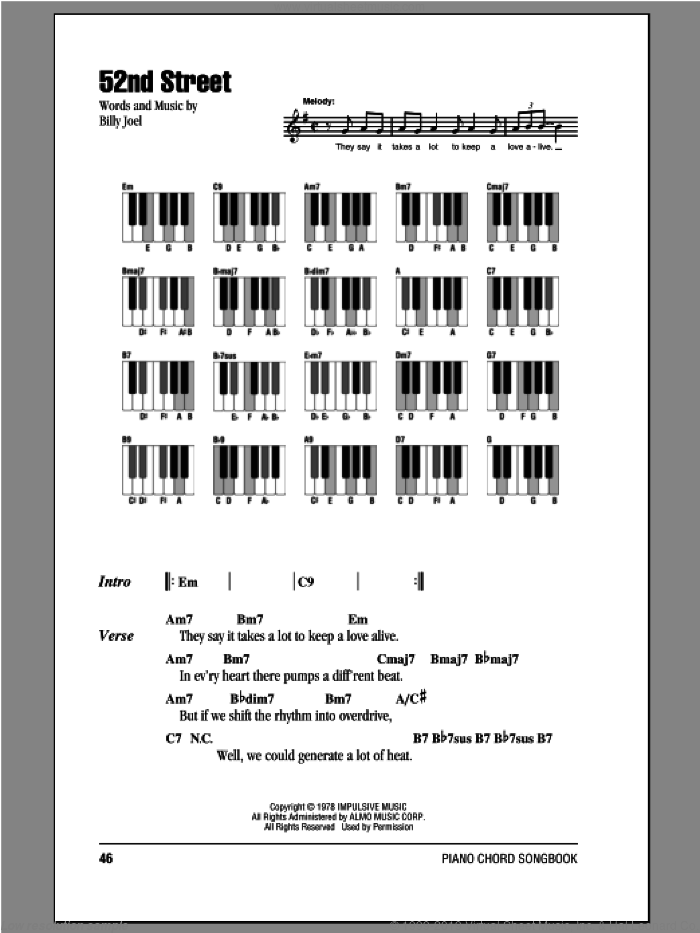52nd Street sheet music for piano solo (chords, lyrics, melody) by Billy Joel, intermediate piano (chords, lyrics, melody)