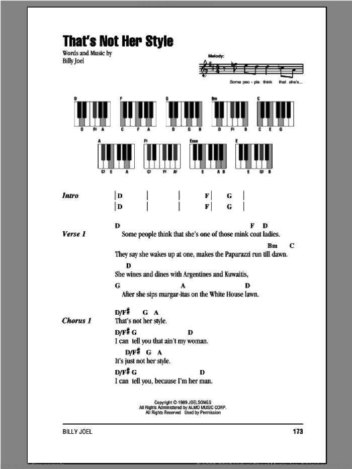 That's Not Her Style sheet music for piano solo (chords, lyrics, melody) by Billy Joel, intermediate piano (chords, lyrics, melody)